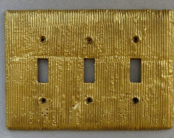 Goldtone Abstract Triple Toggle Decorative Switchplate Wallplate