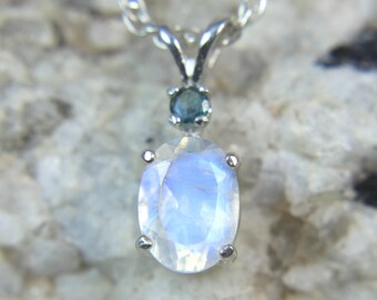 MOONSTONE - Natural Rainbow Moonstone Necklace with Natural Alexandrite Accent! FREE USA Shipping!