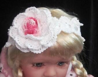 Baby Girl Flower Headband, Toddler Girl Pink Flower Headband, Pink and White Flower Girl Headband, Baby Girl Flower headband