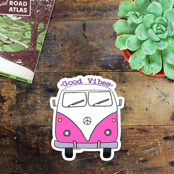 VW Bus Sticker Decal - Car Window Decal - Laptop Sticker - Phone Sticker - Travel - Camping - Good Vibes Sticker - Van Life - Hippie