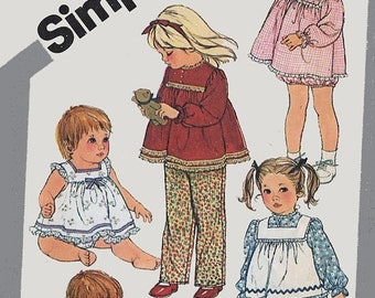 ON SALE Vintage 1980s Toddler Pants Top Pinafore Sundress Panties Bloomers Simplicity 5733 Retro 70s Sewing Pattern Size 1 UNCUT