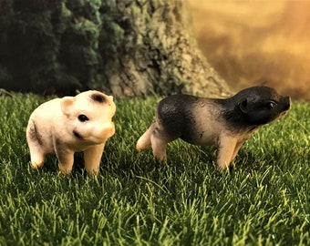 Two Pig Figurines, Fairy Garden Miniatures, Miniature Pigs, Fairy Accessories