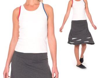 Plus size skirt, Knit waistband skirt, Gray skirt plus size, Midi skirts, Kneelength aline jersey skirt, Casual midi skirt - Paper Airplanes