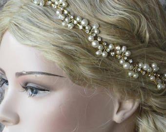 Gold Wedding Headband/ Bridal Headpiece, Gold Rhinestones and Ivory Pearl Hairband,  Bridesmaids Headband