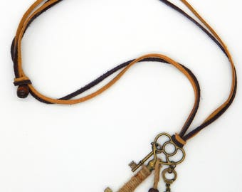 Antique Skeleton Key Necklace, Jute Rope, Handcuffs, On Suede Rope, with Wood Bead, Minimalist Necklace, Edwardian Steampunk Jewelry, Goth