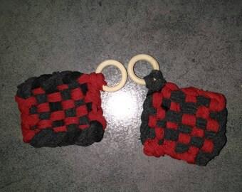 Sponge eco Tawashi red & gray / charcoal, handmade in your choice