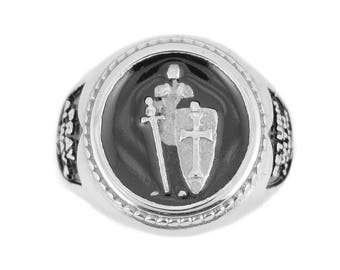 Gents Pray Always Armor Of God Ring Stainless Steel Motorcycle Jewelry