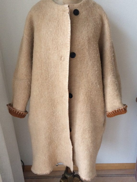 Handmade camel color beige blanketcoat jacket coat, made of a vintage blanket, size M or L