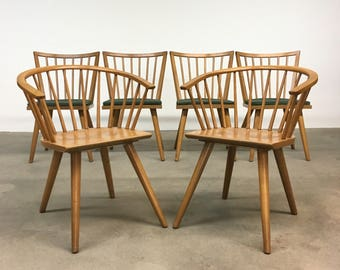 Mid Century | Set (6) Conant Ball by Leslie Diamond |  Dining Chairs danish