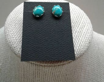 8x10 MM Turquoise Sterling Silver Post earrings E-4