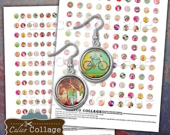 Boho Chic Digital Collage Sheet, 10mm Circles, 12mm Circles, Instant Download, Images for Earrings, Tiny Circles, CalicoCollage