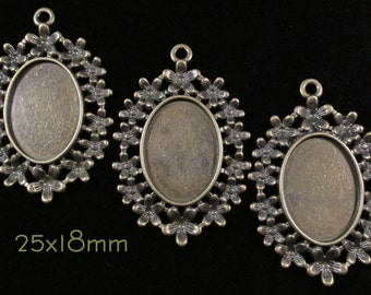 25x18mm - Antique Bronze Setting - 'Garland' - 3 pcs : sku 05.08.14.6 - Q21