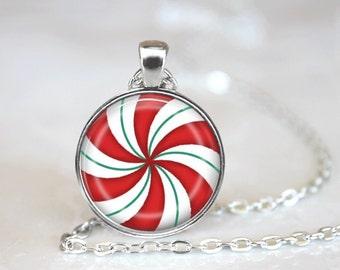 Christmas Necklace Christmas Jewelry Glass Tile Necklace Glass Christmas Candy Tile Jewelry Holiday Necklace Holiday Jewelry Silver Jewelry