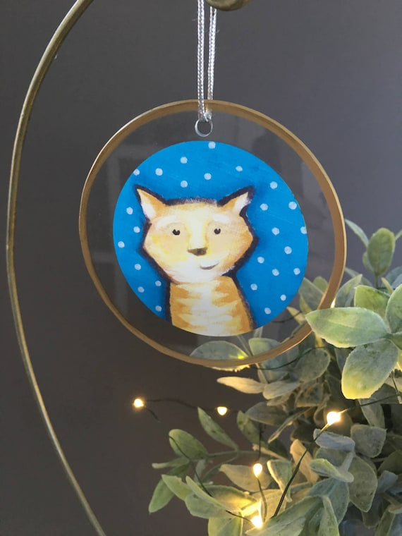 Orange tabby cat ornament, golden tabby, gift for cat lovers, tiger cat unique ornament for Christmas tree, glass ornament