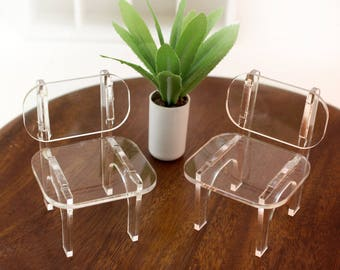 Set of 2 Modern Lucite Chairs - 1:12 scale