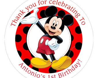Mickey Mouse Personalized Birthday round sticker / favor label