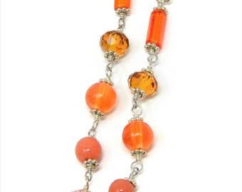 Long Orange Earrings, Simple Orange Earrings, Vintage Orange Glass, Shoulder Duster Earrings