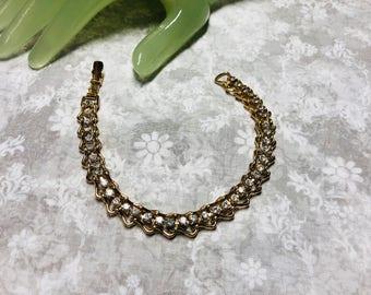 "Vintage 8"" Goldtone Chain Clear Rhinestone Tennis Bracelet"