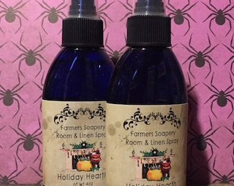 Holiday Hearth Room & Linen Spray 4oz - pine, hearth smoke, comfort Air Freshener Room Spritz Home Fragrance Refresher Car Spray