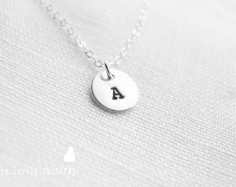 "NEW Customized Sterling Silver Single 3/8"" Disc Necklace - Hand Stamped Personalized Charm - Sterling Jewelry - Wedding Jewelry - Simple"
