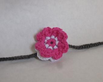 Pink White Gray Flower Headband