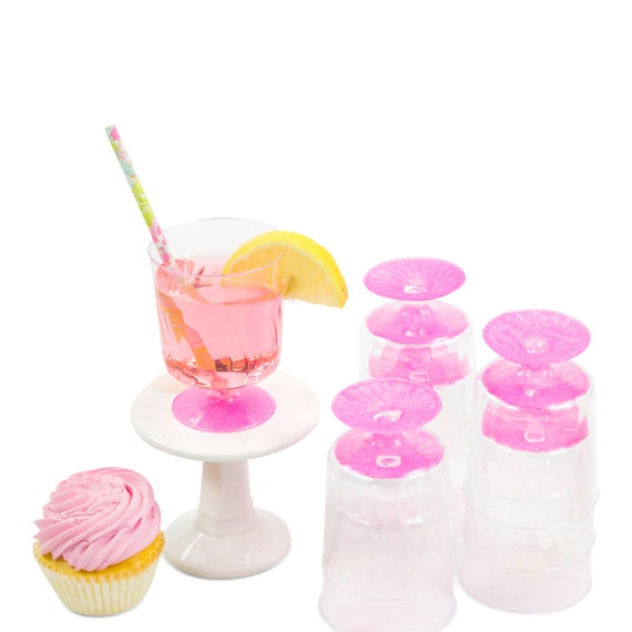 9pc Hot Pink Glitter Cup, Disposable Cup, Bridal Shower Drinks, Birthday Cups, Plastic Cup, Table Setting Buffet Decor Paper Cup Baby Shower