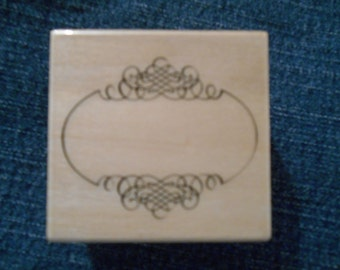 Fancy Label,  Rubber Stamp, Wood Mounted