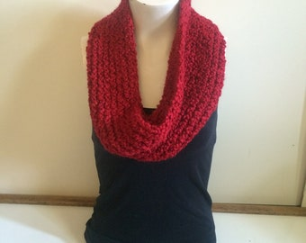 Super soft red infinity scarf.
