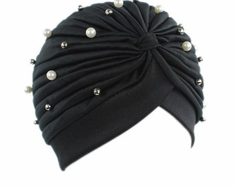 Black Stretch Women Hat Turban with pearls and beads, Pleated Head wrap