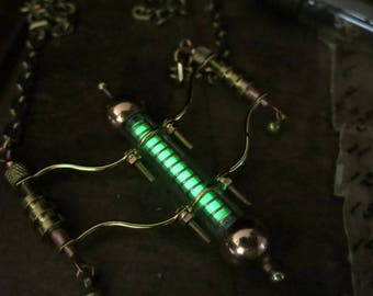 CUSTOM BUILD - Do not buy please.  Glow in the dark green glass vial for YW, steampunk glowing pendant design,