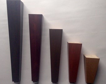 "Square Tapered Style Furniture Legs. Cherry or Oak Wood. Great For Sofas, Beds, Chairs, Tables etc. Choice of Stain Colors 4""- 12"" Set of 4"