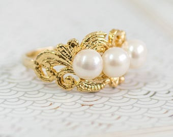 Gold Pearl Ring, Pearl Ring, Freshwater White Pearl Rings, Gemstones Ring, June Birthstone Ring, Statement Rings, Gift For Her, Gold Jewelry
