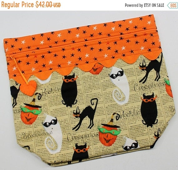 SALE Big Bottom Bag Retro Halloween  Cross Stitch, Sewing, Embroidery Project Bag