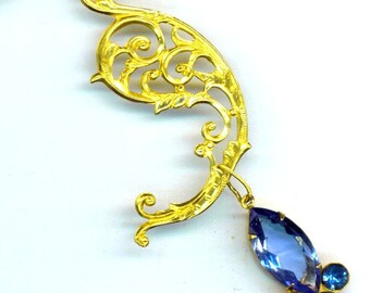 Vintage Sapphire Blue Rhinestone Necklace . Paisley Gold Plate Filigree . Prom Romance - Bride's Maid Blue Necklace by enchantedbeas on Etsy