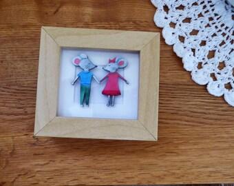 Mouse Couple Miniature Box Frame Art