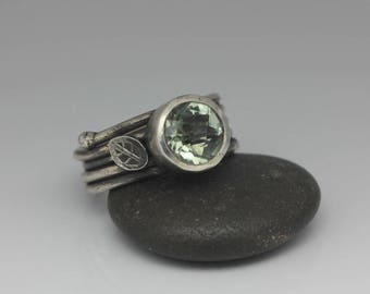 Green Amethyst Ring, Prasiolite Ring, Green Amethyst and Sterling Ring, Cushion Cut Gemstone, Rustic Chic, Size 7