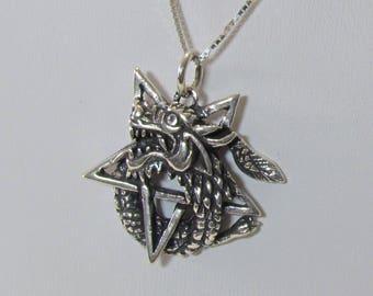 Vintage Hefty Sterling Silver Dragon Pentacle Necklace