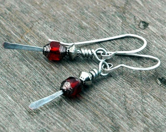 Hammered Metal and Czech Glass Bead Earrings, Crimson Red with Silver Accents, Casual, Delicate Pierced Earrings, Earrings Under 20