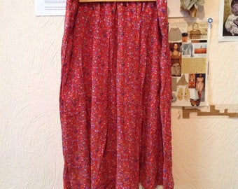 Red Floral Print Midi Skirt Below the Knee Small Medium
