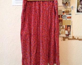 Red Floral Print Midi Skirt Below the Knee Small Medium