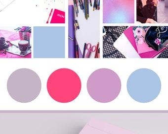 7 Piece Premade Branding Design Package | Wordpress Theme Logo | Blogger Template Logo | Blog Graphics | Pink Logo Design | Paperie Logo