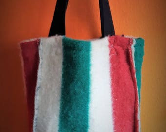 Great shopper from vintage blanket lined with linen fabric.