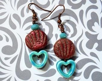 Aqua and Copper Heart Earrings (2316)