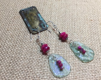 Ancient Roman Glass with red chalcedony and mystic ruby moonstone charms on Sterling Silver earrings, OOAK
