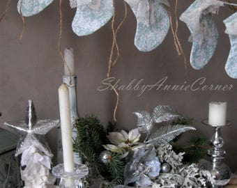 Advent Calendar Shabby Chic Mint Christmas garland Turquoise White Christmas stocking garland OOAK Countdown to Christmas mantel decor