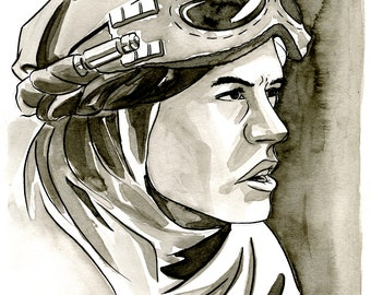 Rey Original Ink Wash Illustration