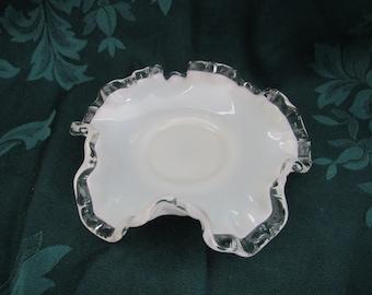 Fenton Silver Crest Milk Glass Bon Bon Dish