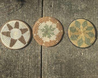 African hot pot coasters trivet trivets made in Burundi Raffia