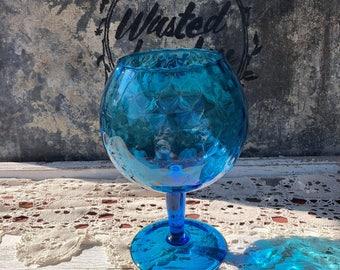 Vintage Blue Glass Goblet Bowl on Pedestal Made in Italy