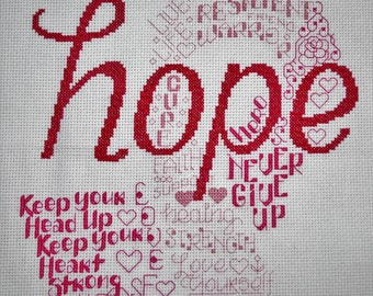 Let's Hope - Finished Counted Cross Stitch (Breast Cancer)